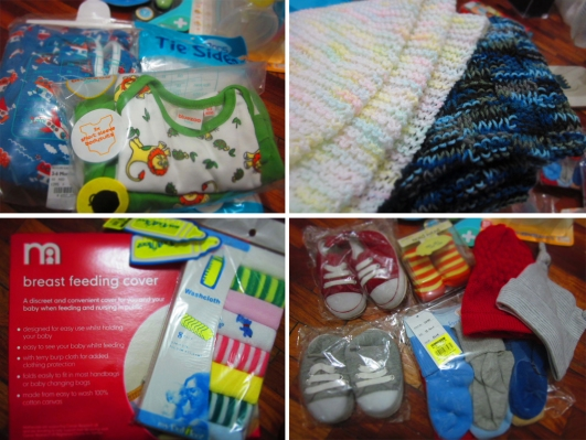 cute clothes and baby blankets and breasfeeding cover and socks, lots of socks